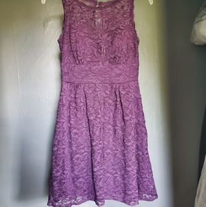 Plum purple lace fit and flare dress